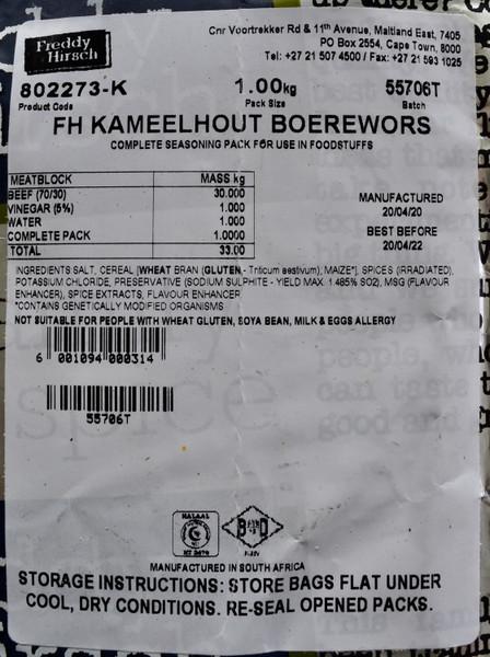 FREDDY HIRSCH KAMEELHOUT BOEREWORS SPICE