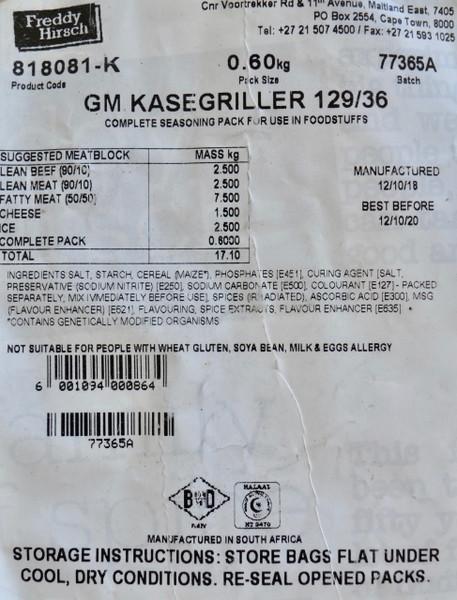 FREDDY HIRSCH GOLD MEDAL KASEGRILLER SPICE