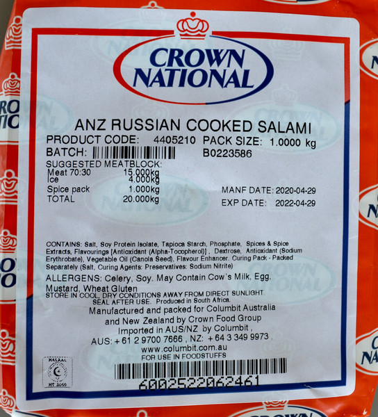 CROWN NATIONAL ANZ RUSSIAN COOKED SALAMI