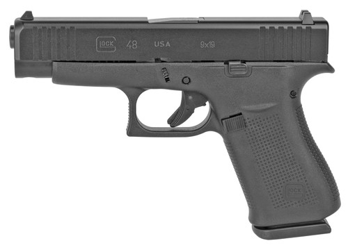 """Glock, 48, Semi-automatic, Striker Fired, Compact, 9MM, 4.17"""" Barrel, Polymer Frame, Black Finish, 10Rd, 2 Mags, Fixed Sights"""