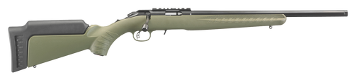 """Ruger 8334 American Rimfire 22 LR 10+1 18"""" OD Green Satin Blued Right Hand"""