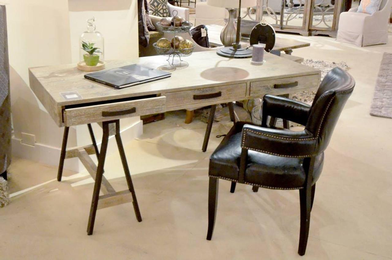 Rustic Wood Sawhorse Desk