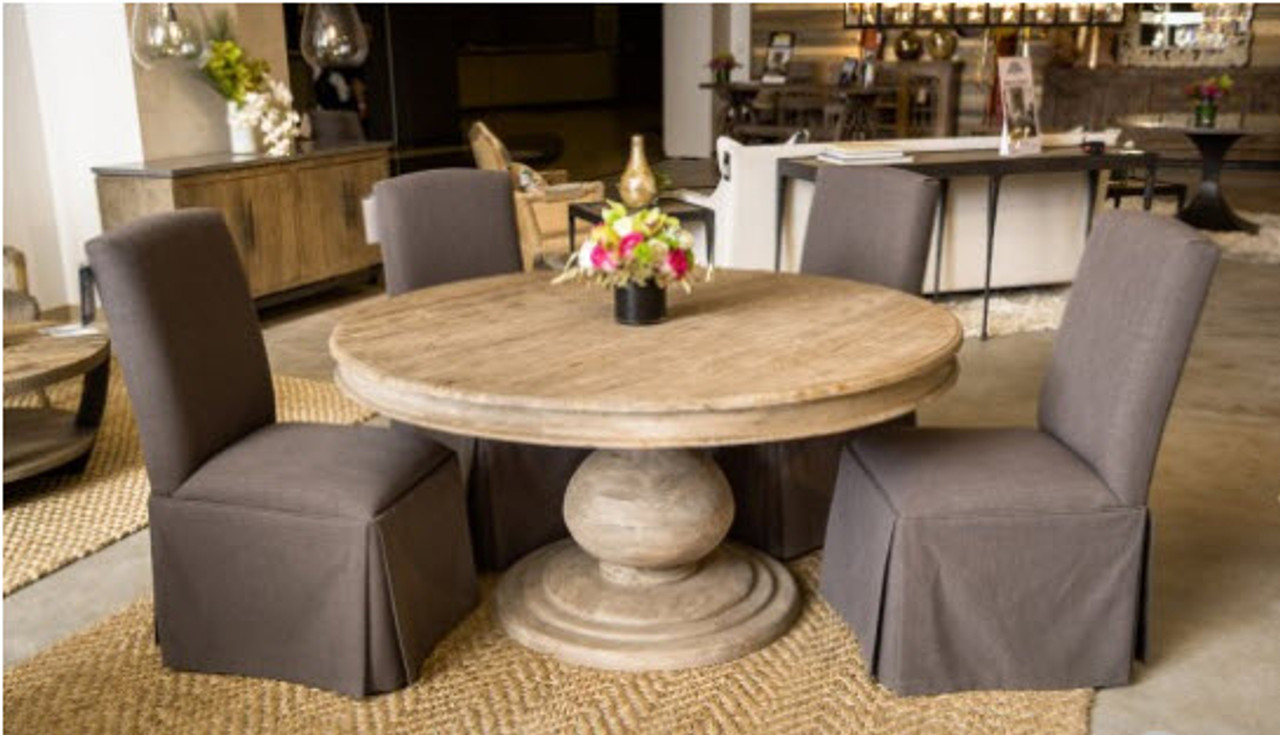 Rustic 60 Round Pedestal Dining Table Reclaimed Wood