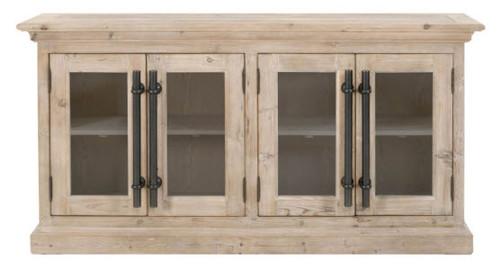"Rustic Pine Wood Buffet Sideboard 74"" Brass Handles"