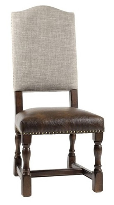 Linen & Leather Side Dining Chair