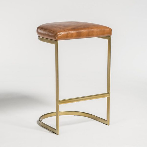 Transitional Bar Stools Leather & Antique Brass