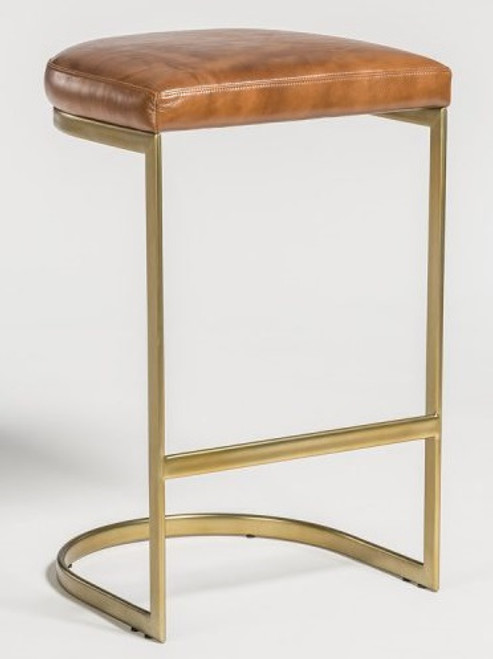 Leather & Brass Counter Stool