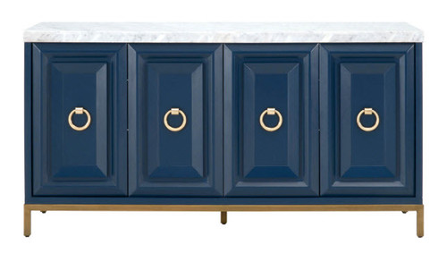 Blue Sideboard With Carrera Marble Top