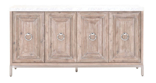 Gray Sideboard Carrera Marble Top Brushed Silver