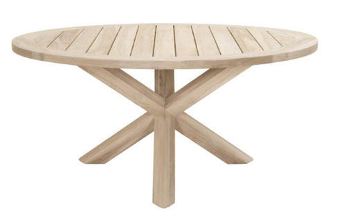 "63"" Outdoor Round Dining Table Teak Wood Light gray finish. Lazy Susan sold separately."