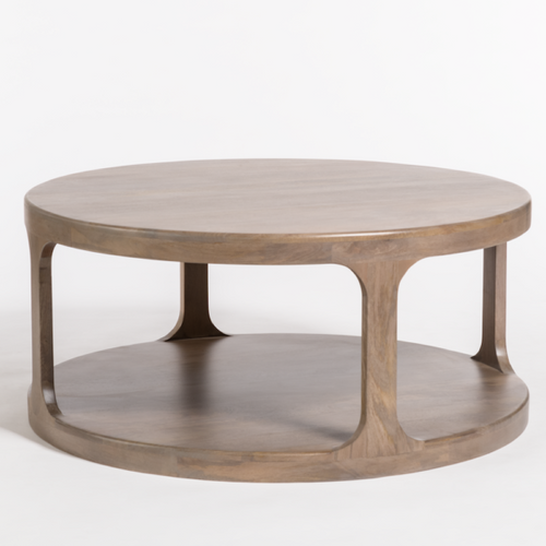 """40"""" Round Coffee Table With Shelf"""