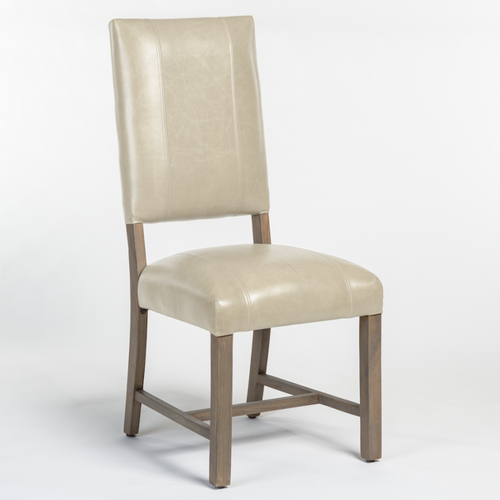 Grey Leather Side Chair Modern Transitional