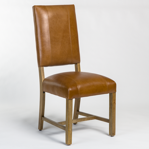 Top Grain Leather Transitional Style Side Chair