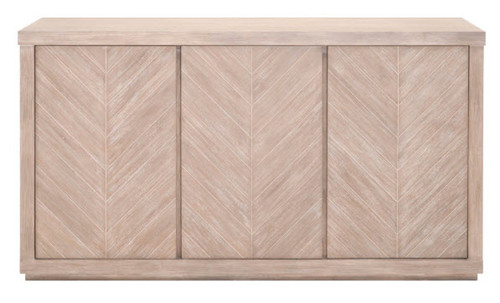 Chevron Design Natural Gray Rustic Modern Sideboard