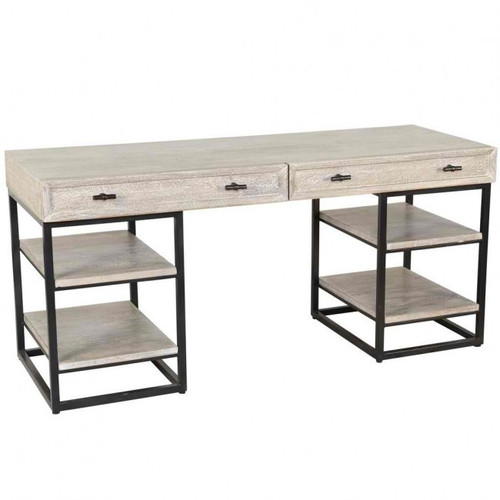 Rustic Modern Iron & Wood Desk With Open Shelves