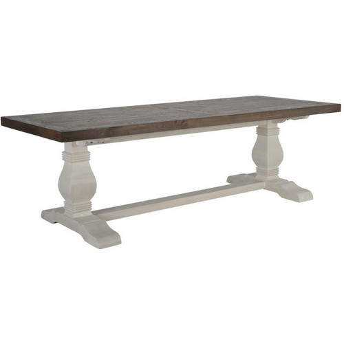 Two Tone White Base Dark Stain Top Trestle Dining Table