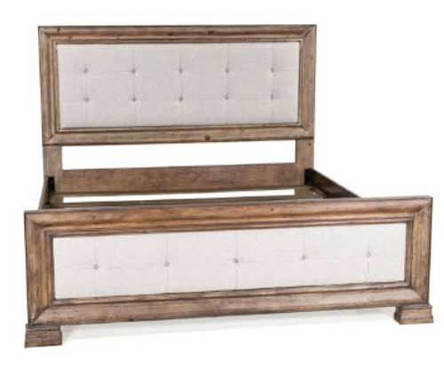 Linen Button Tufted Bed Wood Frame