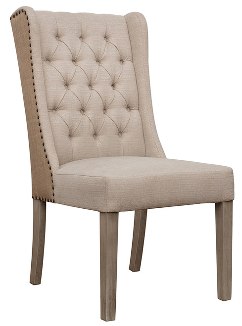 Jute Upholstered Fabric Tufted Side Dining Chair