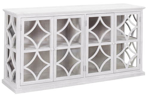 White Sideboard with glass doors made from reclaimed pine wood.