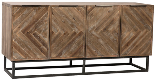 Herringbone Design Solid Wood Sideboard Buffet