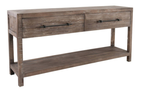 Rustic Modern 2 Drawer Console Sofa Table With Shelf