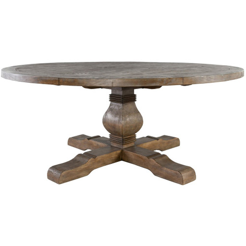 "72"" Round Rustic Pedestal Reclaimed Wood Dining Table"