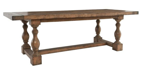 "91"" Farmhouse Reclaimed Wood Stretcher Dining Table"