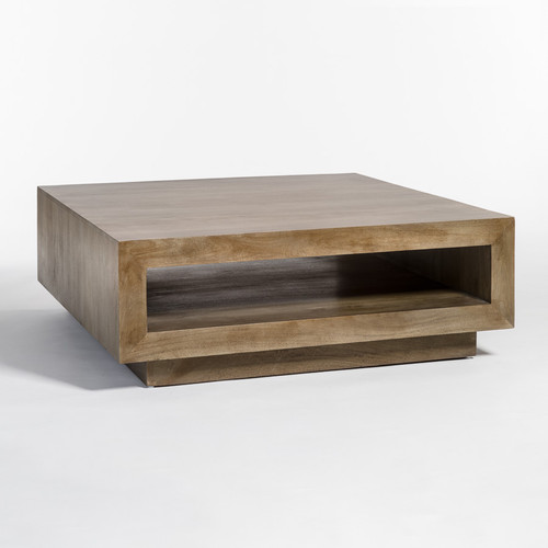 Modern Square Coffee Table With Shelf
