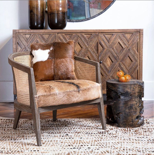 Cow Hide Occasional Chair Wood Sideboard