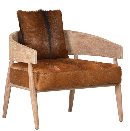 Cowhide & Wood Occasional Barrel Back Chair