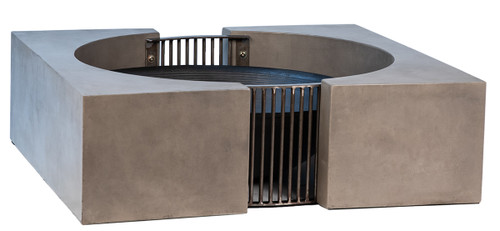 Rectangle Outdoor Firepit Concrete Steel