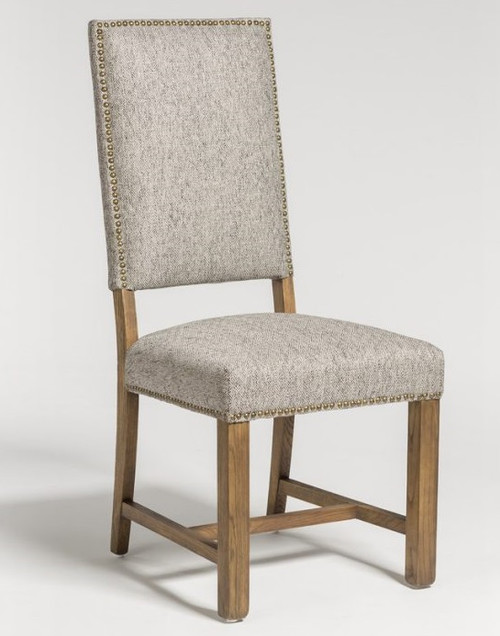 Grey Peppered Upholstered Fabric Side Chair