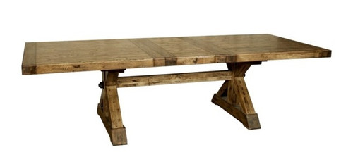 Rustic Farmhouse Cross Base Extension Dining Table & Benches