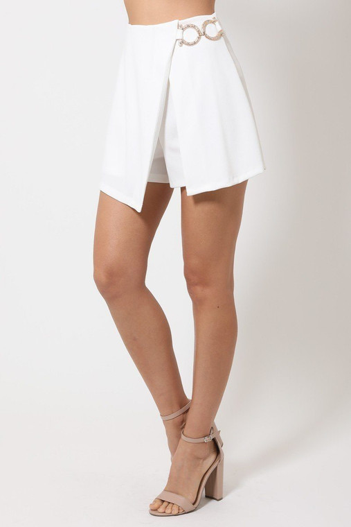 Double Layer Detailed Fashion Shorts With Gold Buckle On The Side - VAL2.S13140.id.51496c-L