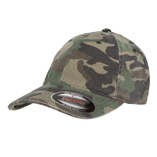 Flexfit Garment Washed Camo Cap 6977Ca Green Camo - One Dozen