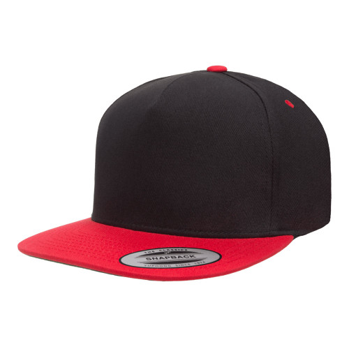 YP Classics 5-Panel Cotton Twill Snapback Cap 6007T Black Red - 2-Tone 6007T Black Red - One Dozen