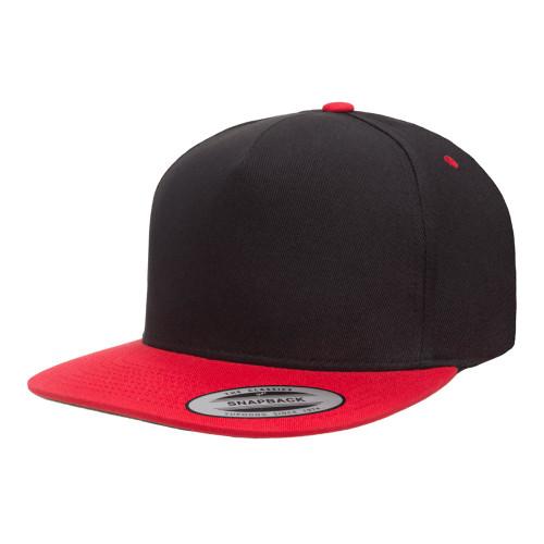 YP Classics 5-Panel Cotton Twill Snapback Cap 6007T Black Red - 2-Tone 6007T Black Red - One Dozen