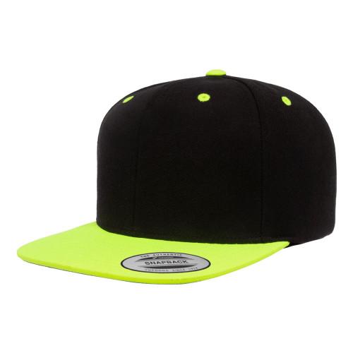 YP Classics Premium Snapback Cap 6089Mt Black Neon Green - 2-Tone 6089Mt Black Neon Green - One Dozen