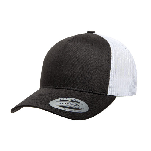 YP Classics 5-Panel Retro Trucker Cap 6506T Black White - 2-Tone 6506T Black White - One Dozen