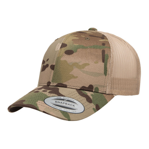 YP Classics Multicam Retro Trucker Cap 6606Mc Khaki - One Dozen