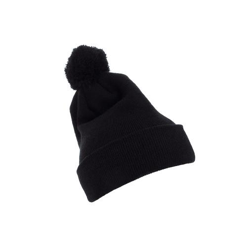YP Classics Cuffed Pom Pom Knit Beanie 1501P Black - One Dozen