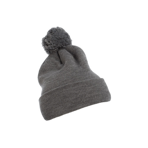 YP Classics Cuffed Pom Pom Knit Beanie 1501P Heather Grey - One Dozen