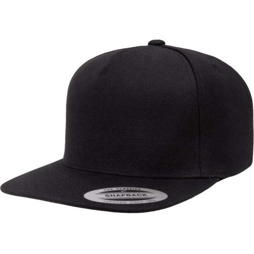 YP Classics® 5089M Black Premium 5-Panel Snapback Cap - One Dozen