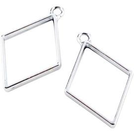 Rhombus Shaped Hollow Frame Open Back Bezel 2Pcs