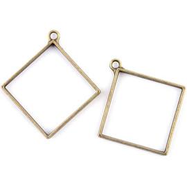 Square Rhombus Shaped Hollow Frame Open Back Bezel 2Pcs