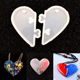 2Pcs Heart lock Mold for Resin Pendant