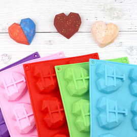 Heart Shape Silicone Molds for Soap 6 Cavity