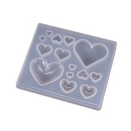 Big & Small Heart Square Silicone Pendant Mold for Resin