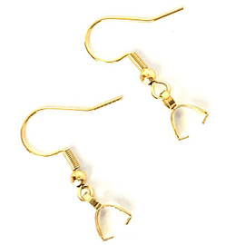 Gold Plated French Earring Hook Pinch Bail Ear Wire 10Pcs