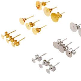 Earring Flat Stud, Blank Settings Base 10Pcs